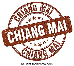 Chiang mai brown grunge round vintage rubber stamp