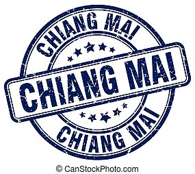 Chiang mai blue grunge round vintage rubber stamp