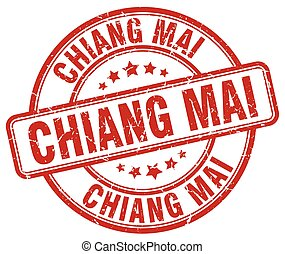 Chiang mai red grunge round vintage rubber stamp