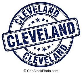 Cleveland blue grunge round vintage rubber stamp