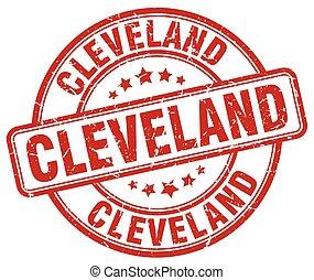 Cleveland red grunge round vintage rubber stamp