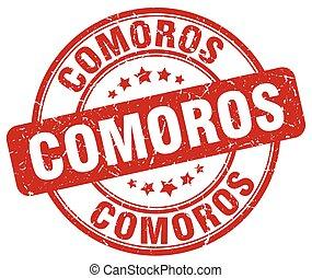 Comoros red grunge round vintage rubber stamp