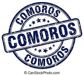 Comoros blue grunge round vintage rubber stamp