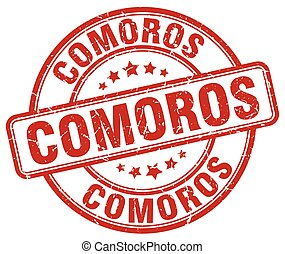 Comoros red grunge round vintage rubber stamp
