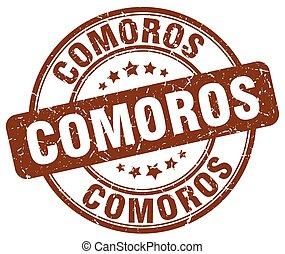 Comoros brown grunge round vintage rubber stamp