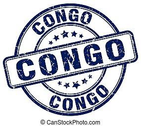 Congo blue grunge round vintage rubber stamp