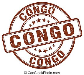 Congo brown grunge round vintage rubber stamp