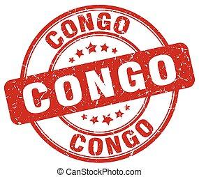 Congo red grunge round vintage rubber stamp
