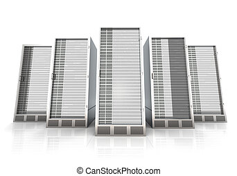 19inch Server towers - 3D rendered Illustration Isolated on...