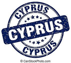 Cyprus blue grunge round vintage rubber stamp