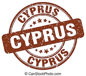 Cyprus brown grunge round vintage rubber stamp