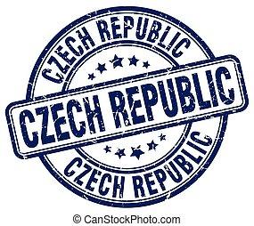 Czech Republic blue grunge round vintage rubber stamp