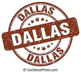 Dallas brown grunge round vintage rubber stamp