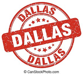 Dallas red grunge round vintage rubber stamp