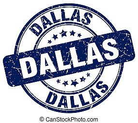 Dallas blue grunge round vintage rubber stamp