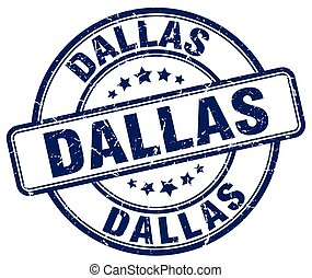 Dallas blue grunge round vintage rubber stamp