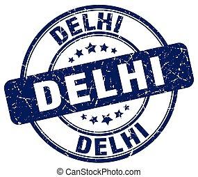 Delhi blue grunge round vintage rubber stamp