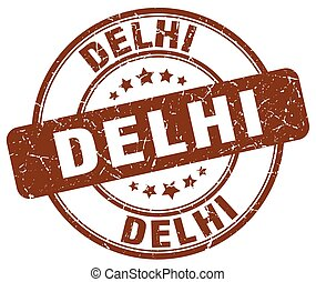 Delhi brown grunge round vintage rubber stamp