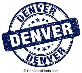 Denver blue grunge round vintage rubber stamp