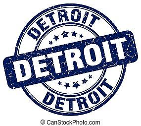 Detroit blue grunge round vintage rubber stamp