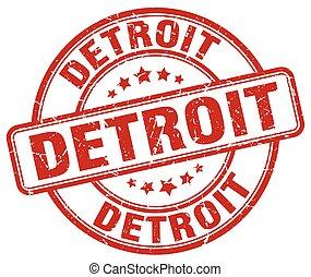 Detroit red grunge round vintage rubber stamp