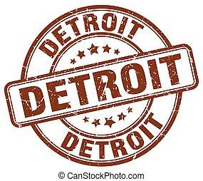 Detroit brown grunge round vintage rubber stamp