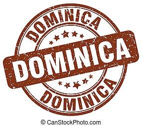 Dominica brown grunge round vintage rubber stamp