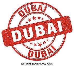 Dubai red grunge round vintage rubber stamp