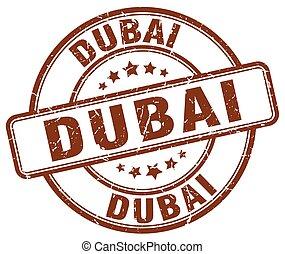 Dubai brown grunge round vintage rubber stamp