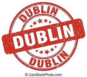 Dublin red grunge round vintage rubber stamp