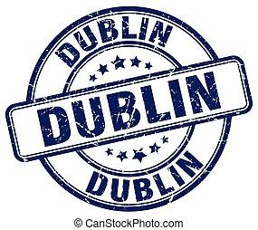 Dublin blue grunge round vintage rubber stamp