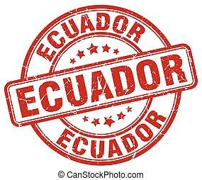 Ecuador red grunge round vintage rubber stamp