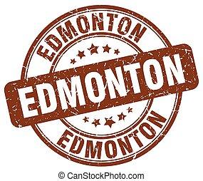 Edmonton brown grunge round vintage rubber stamp