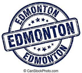 Edmonton blue grunge round vintage rubber stamp
