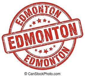 Edmonton red grunge round vintage rubber stamp