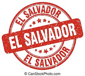 El Salvador red grunge round vintage rubber stamp