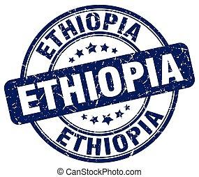 Ethiopia blue grunge round vintage rubber stamp