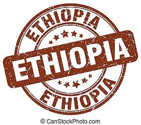 Ethiopia brown grunge round vintage rubber stamp
