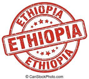 Ethiopia red grunge round vintage rubber stamp