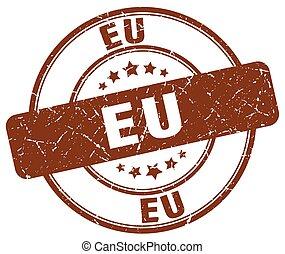 eu brown grunge round vintage rubber stamp