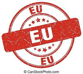 eu red grunge round vintage rubber stamp