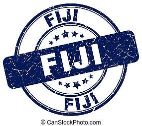 Fiji blue grunge round vintage rubber stamp