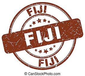 Fiji brown grunge round vintage rubber stamp