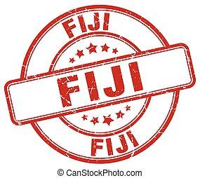 Fiji red grunge round vintage rubber stamp