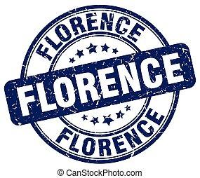 Florence blue grunge round vintage rubber stamp