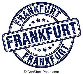 Frankfurt blue grunge round vintage rubber stamp