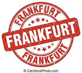 Frankfurt red grunge round vintage rubber stamp