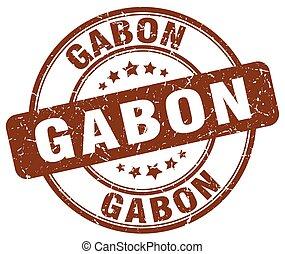 Gabon brown grunge round vintage rubber stamp