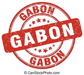 Gabon red grunge round vintage rubber stamp