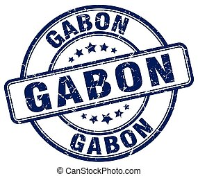 Gabon blue grunge round vintage rubber stamp